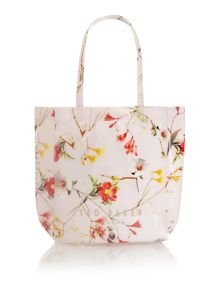 Nude floral print small bowcon bag