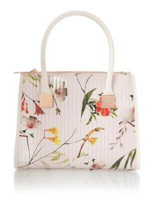 Nude floral print medium quilt tote bag