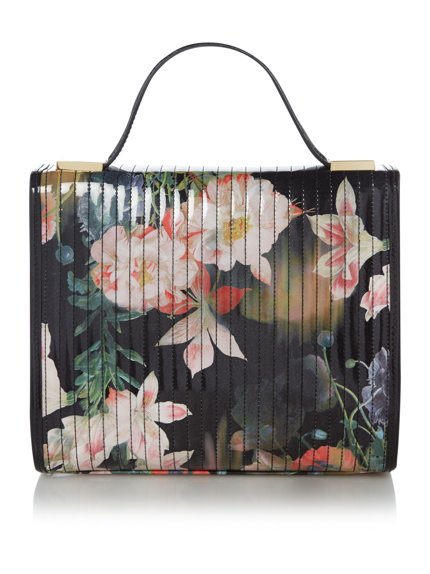 Black floral print quilt cross body bag