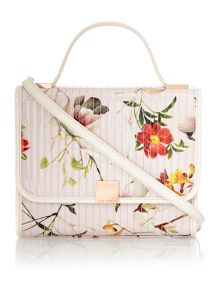Nude floral print quilt cross body bag