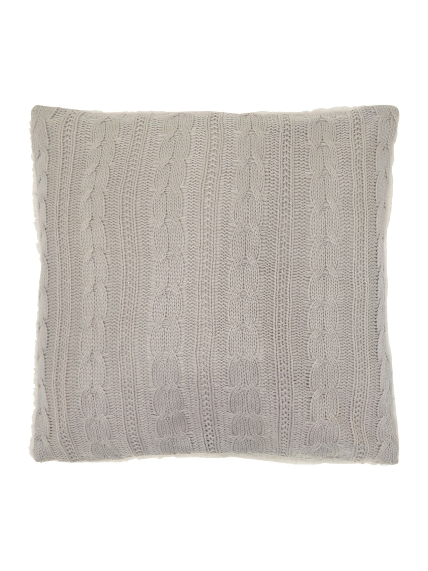 house of fraser linea cable knit sherpa cushion grey ebay. Black Bedroom Furniture Sets. Home Design Ideas
