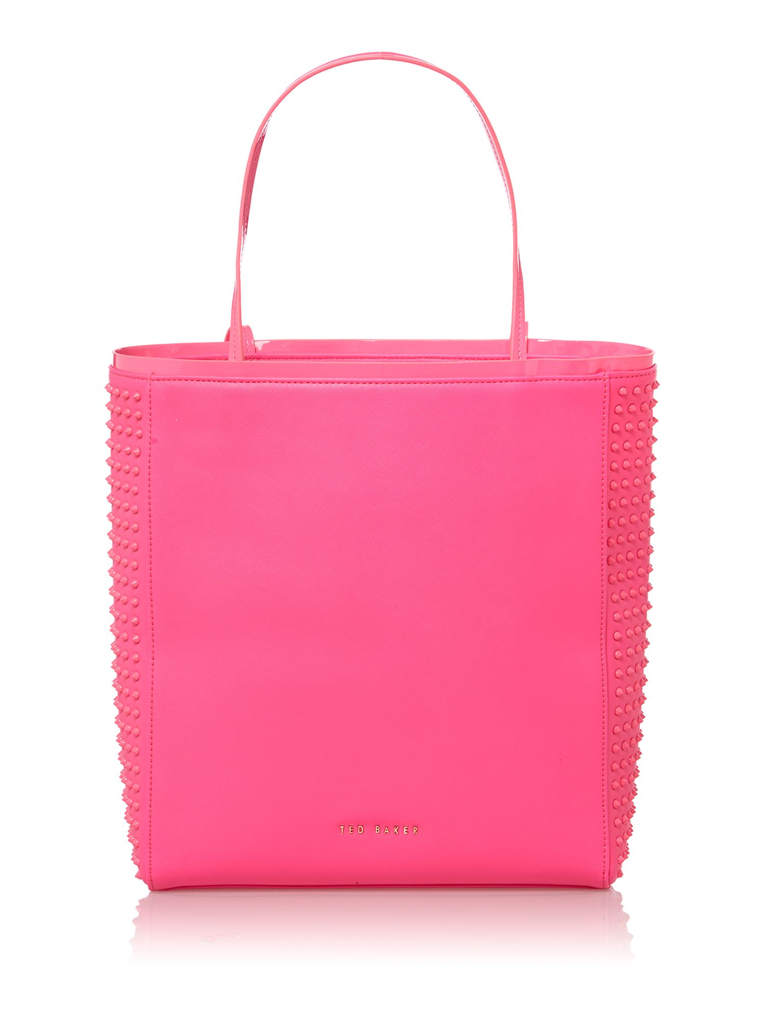 Pink large studded tote bag