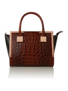 Tan croc mini tote bag