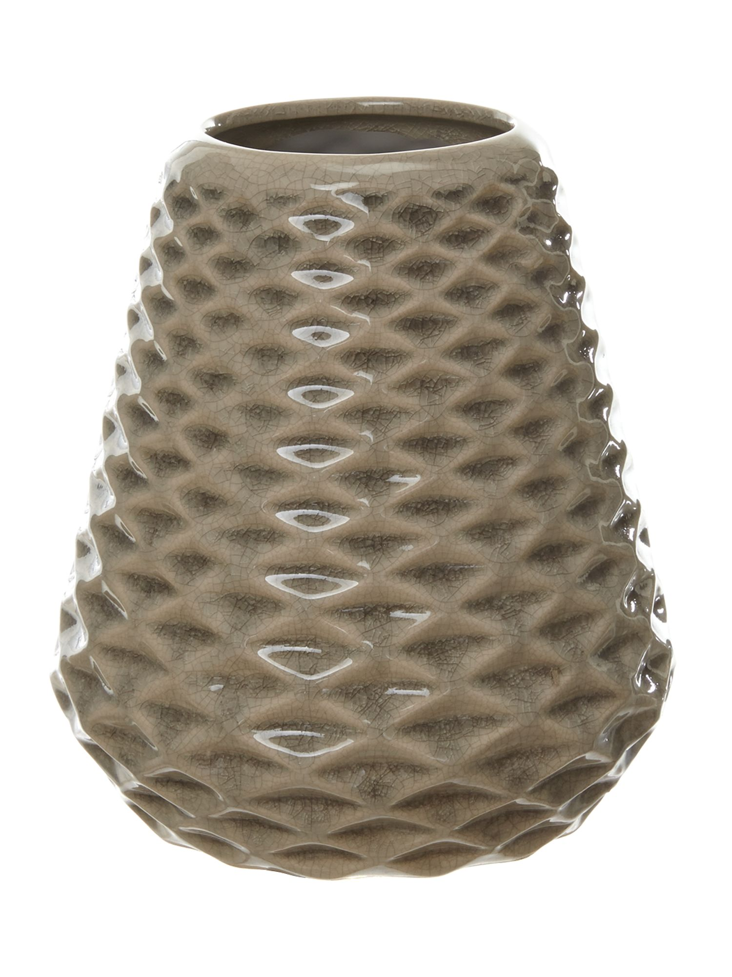 Small Conical ceramic Vase in rainy day