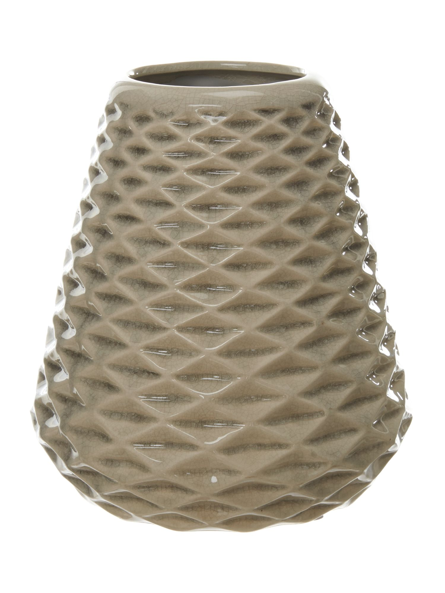 Large Conical ceramic Vase in rainy day