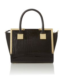 Black croc mini tote bag