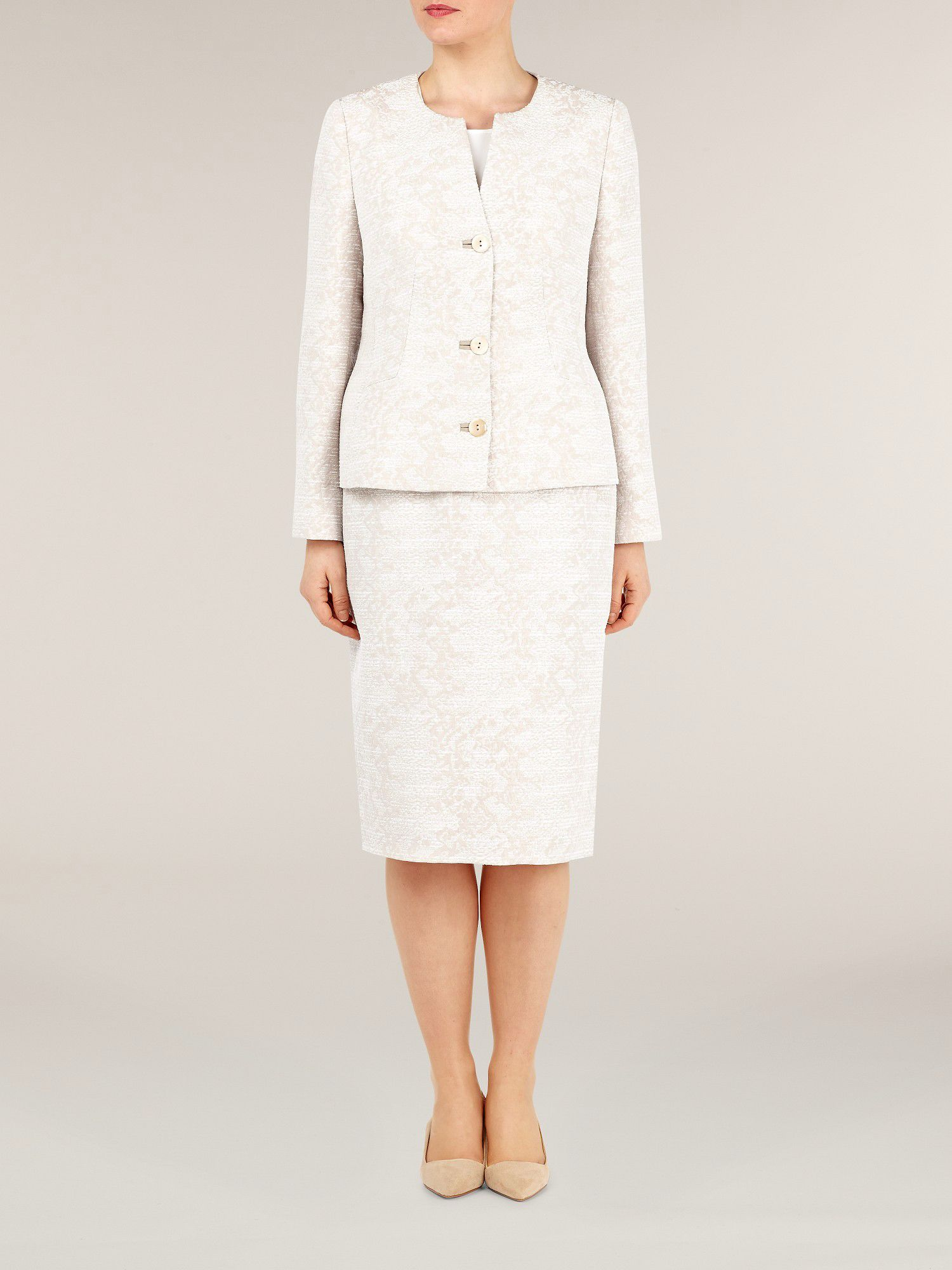 Cream jacquard textured jacket