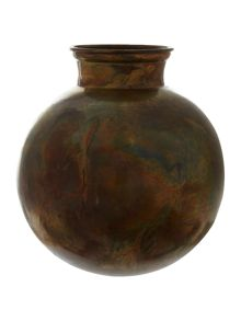 Karson iron Vase in antique copper finish 26x26cm
