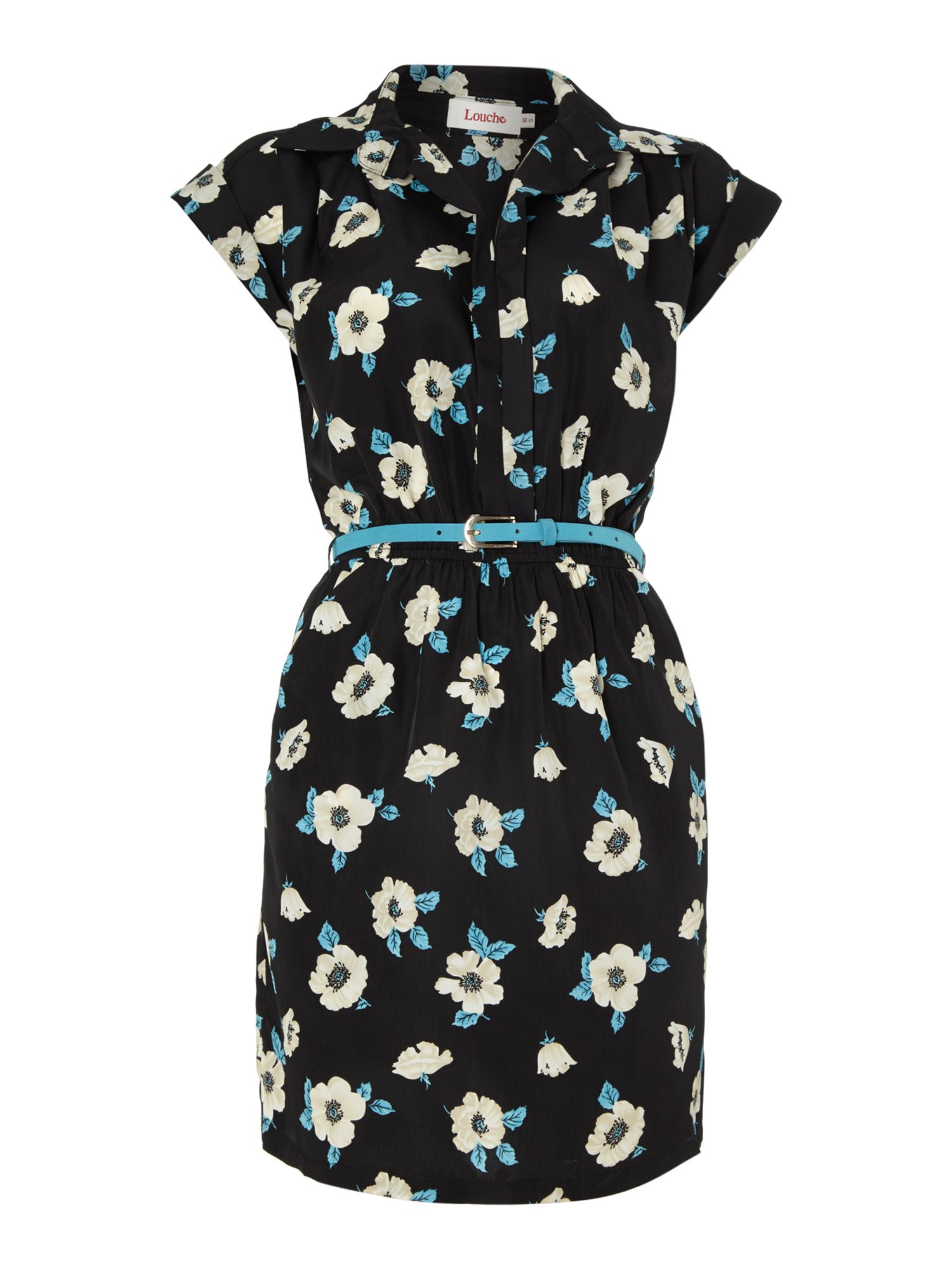 V neck poppy print dress