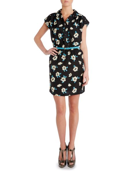 Louche V neck poppy print dress