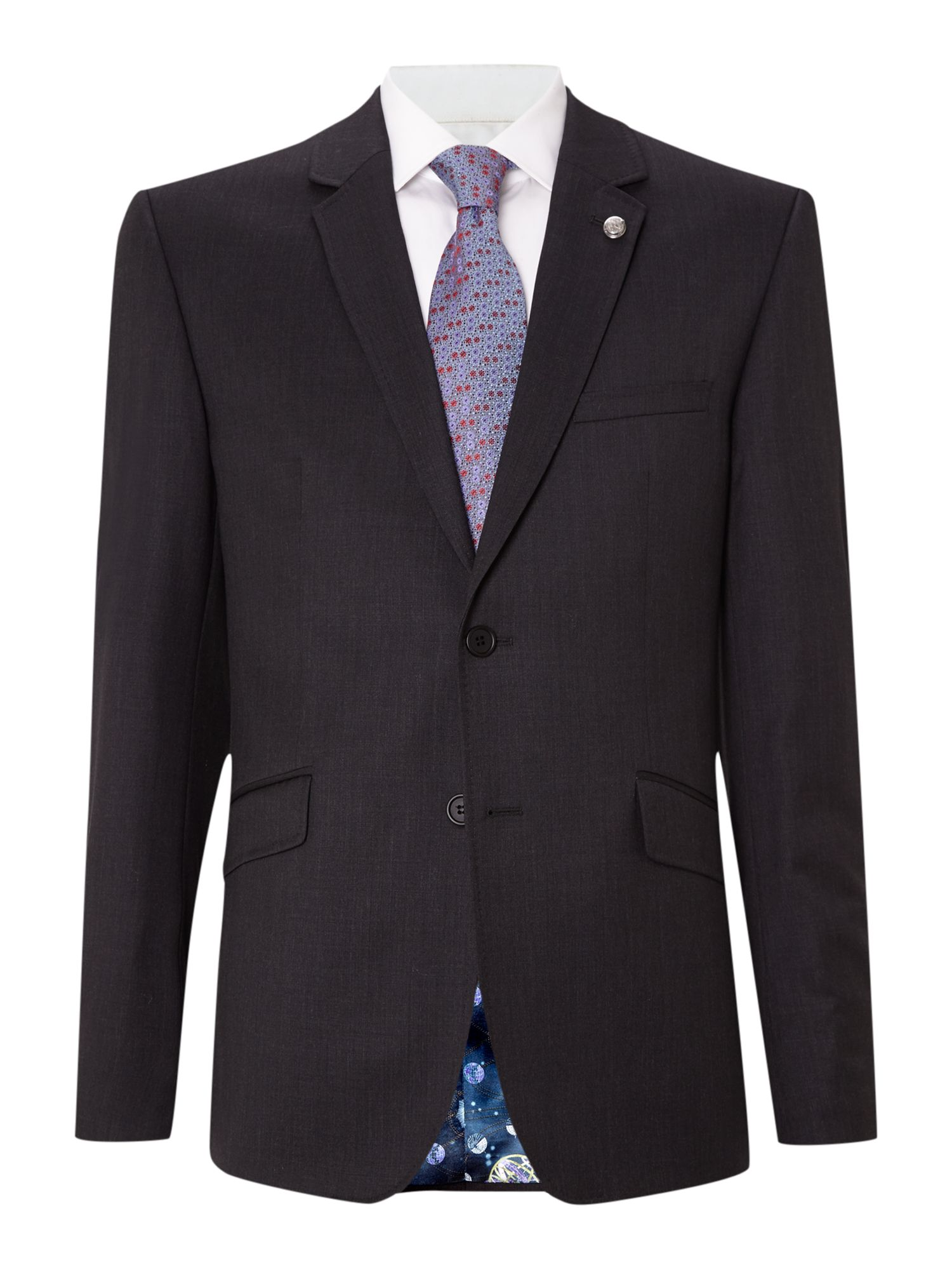 Mens Ted Baker Timeless slim fit solid suit jacket Charcoal