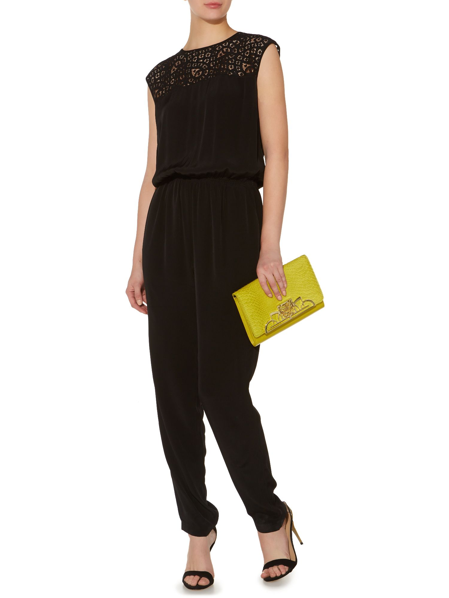 Lace panel jumpsuit