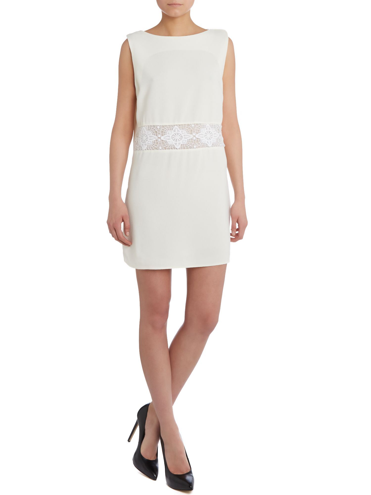 Sleeveless lace panel shift dress