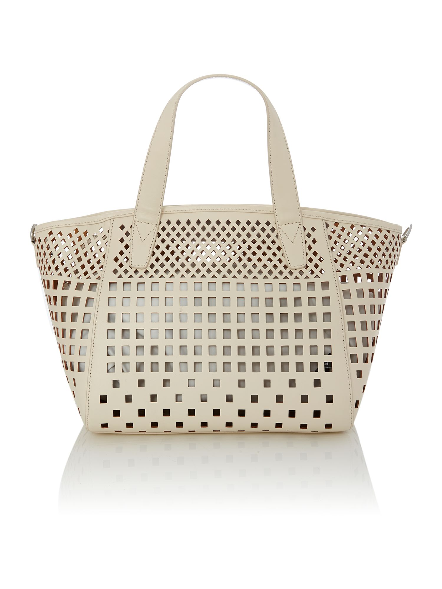 Geometric perforation ivory tote bag