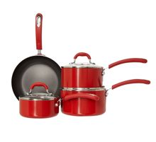 Linea Principle red four piece pan set