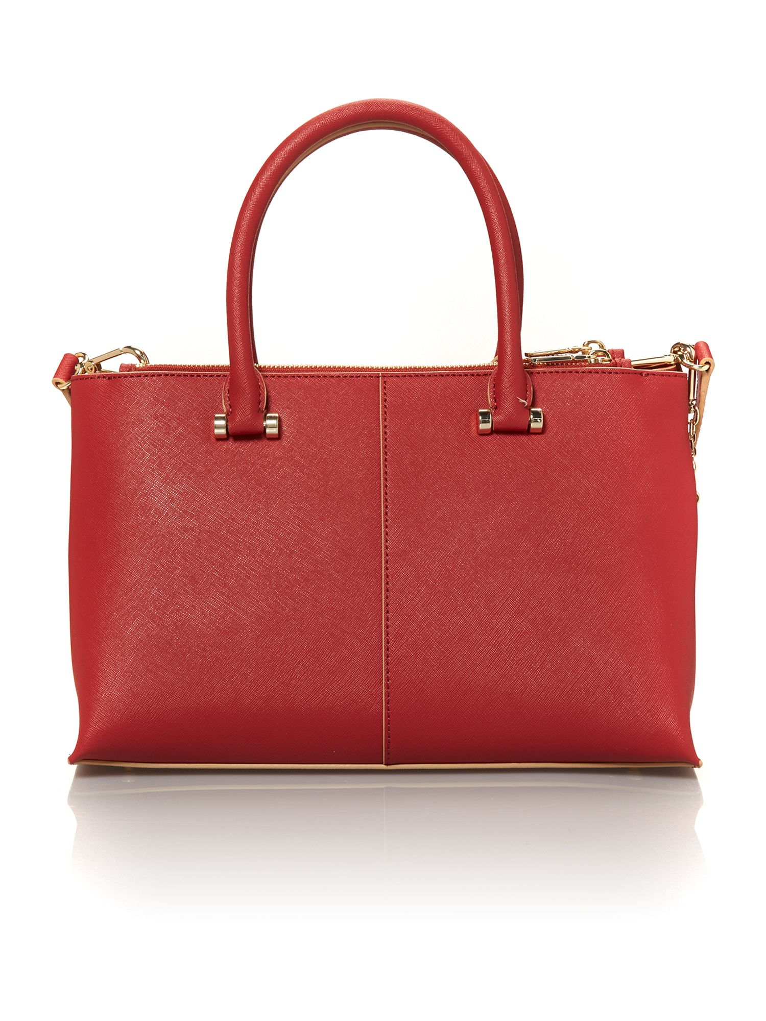 Saffiano red small double zip tote bag
