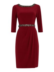 Evening dress with embellished cuff