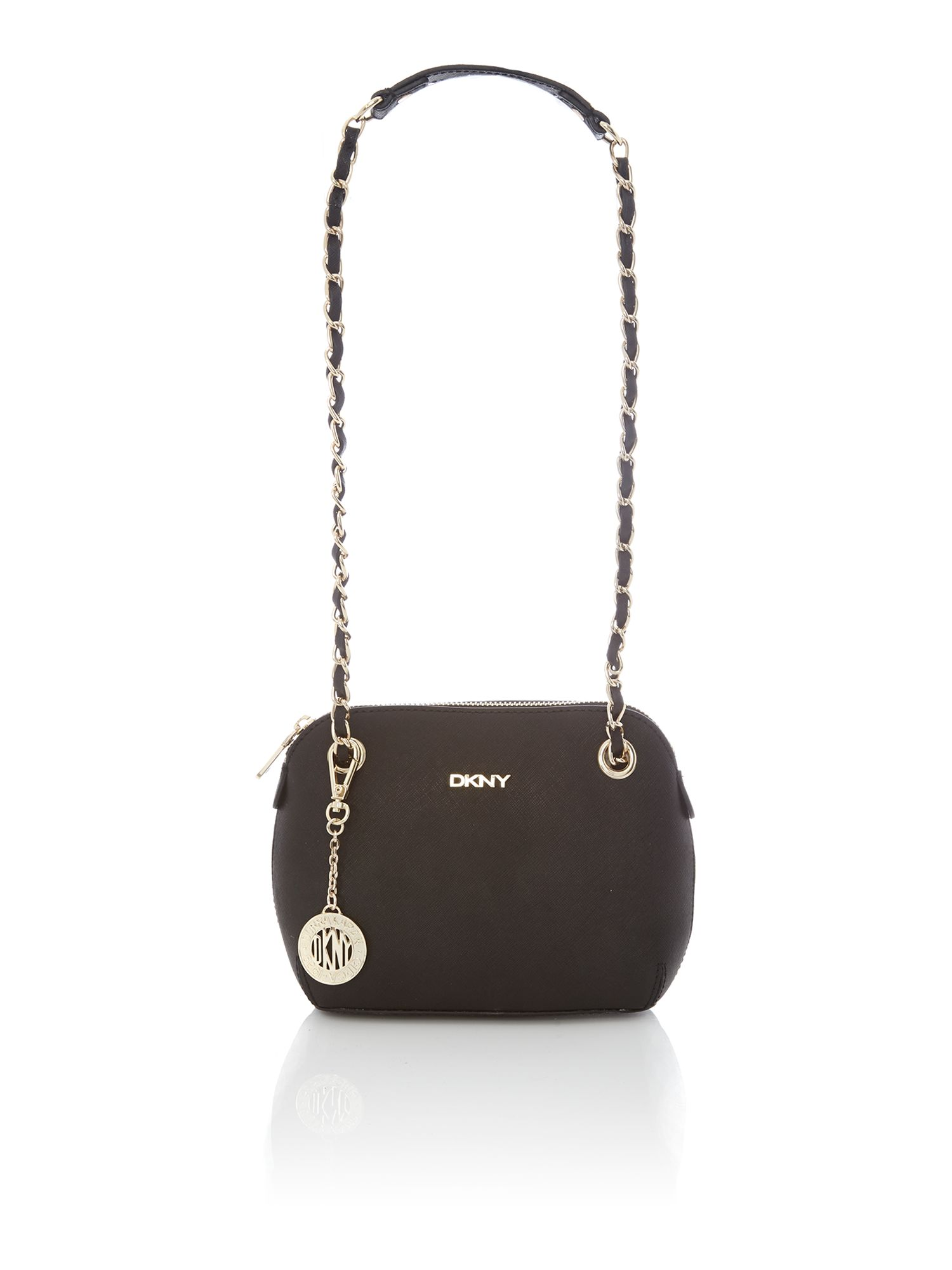 Saffiano black small rounded crossbody