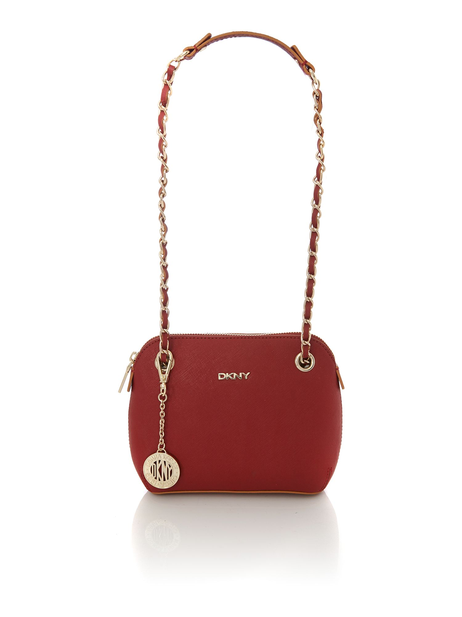 Saffiano red small rounded crossbody