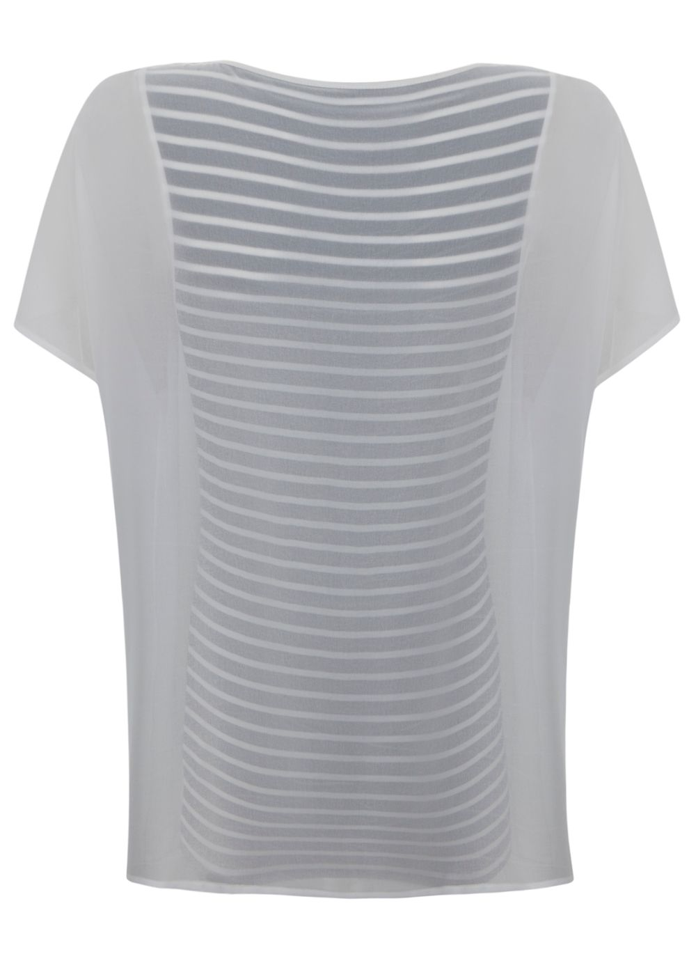 Cream & navy stripe double layer t-shirt