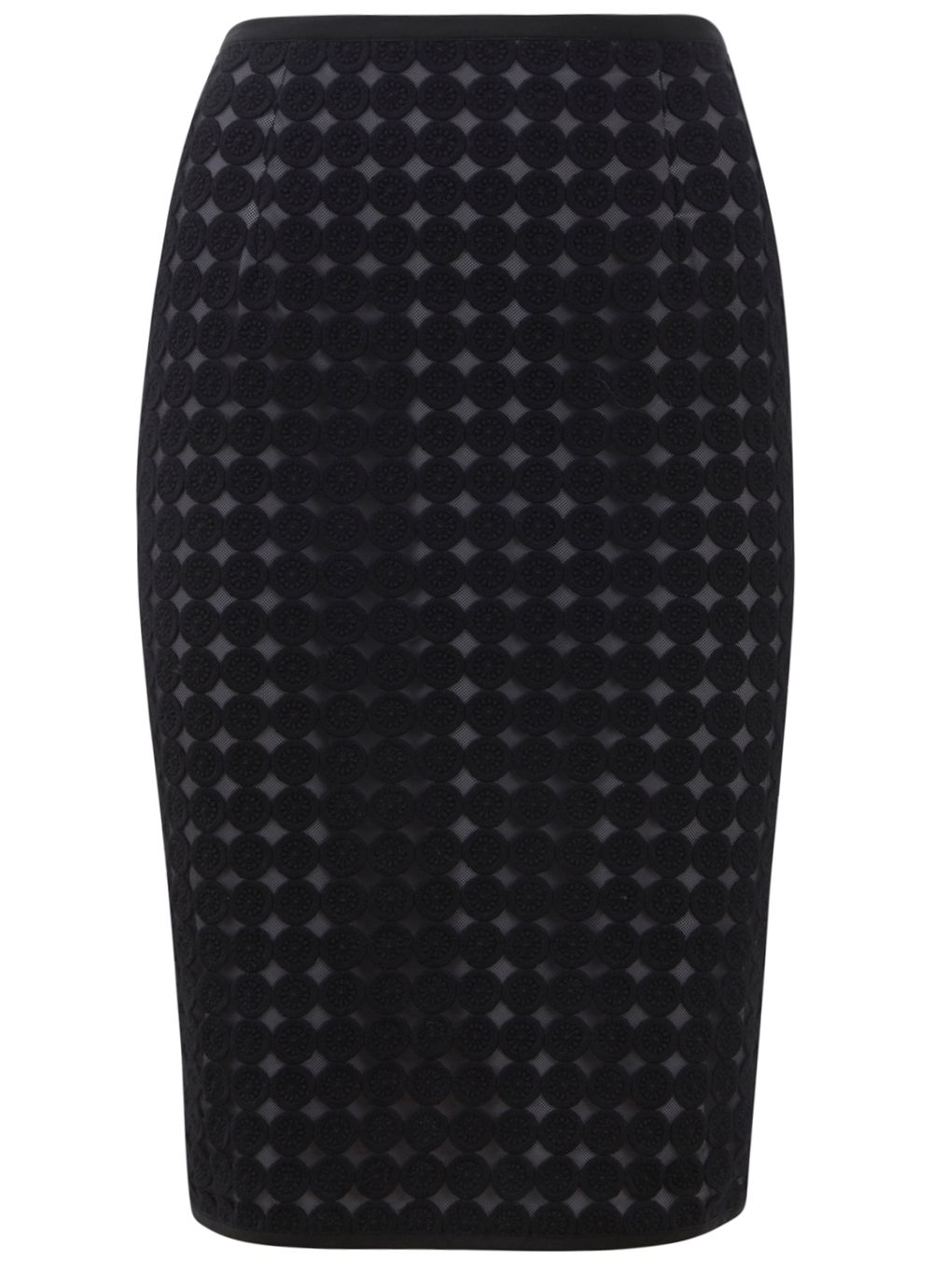 Circle lace pencil skirt