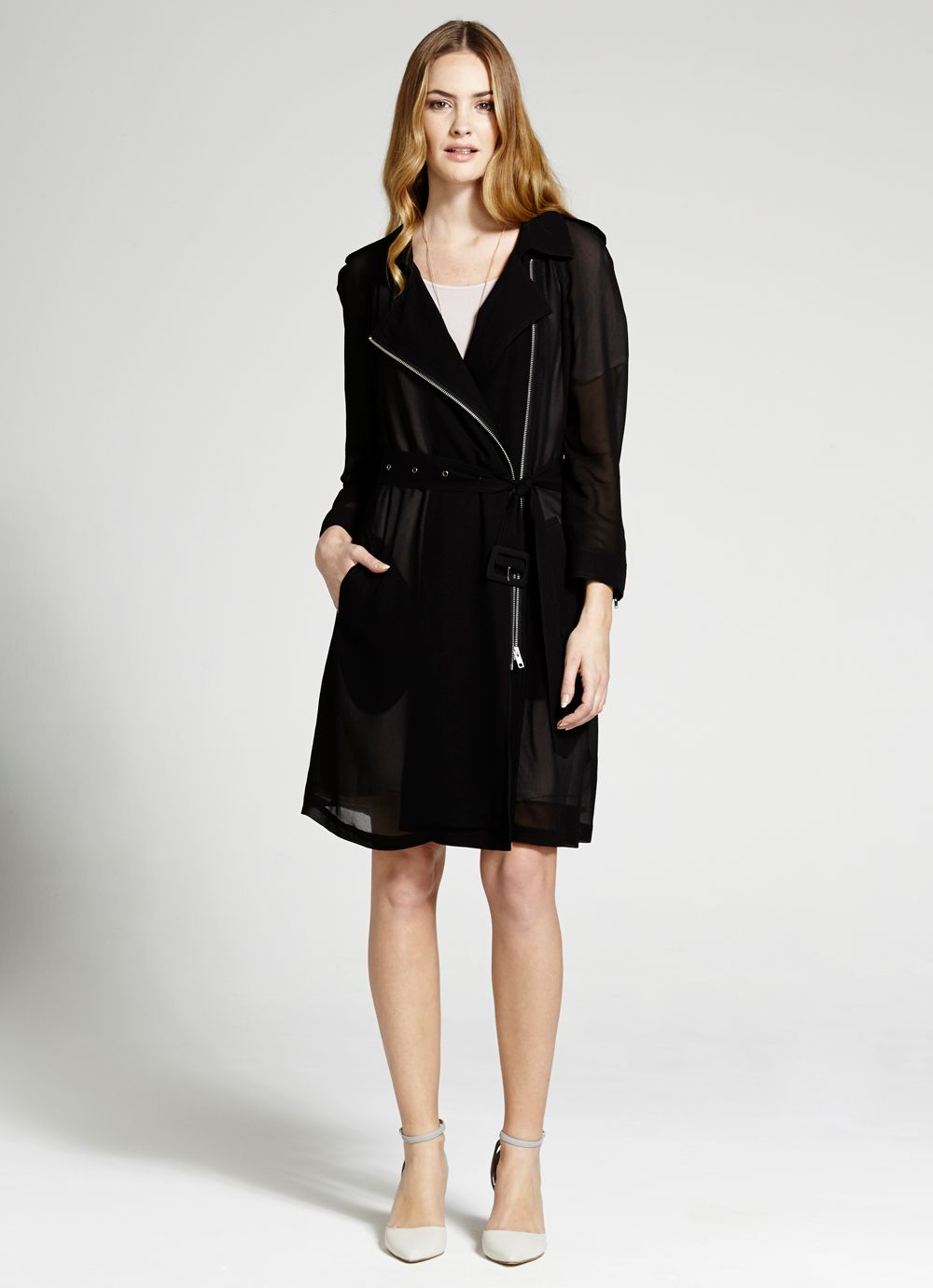 Georgette zip trench
