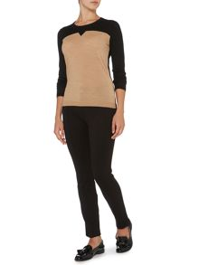 Linea Machine washable merino notch neck jumper