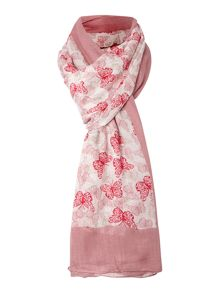 Layered butterfly bordered viscose scarf