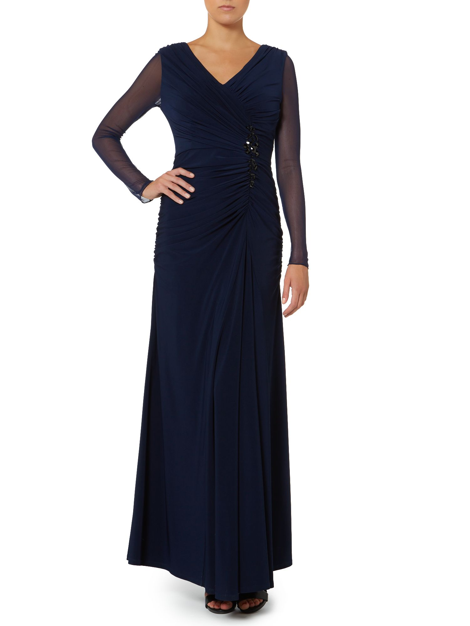 Sheer sleeve dress with rouched bodice