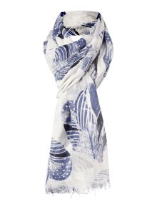 Feather hearts viscose scarf