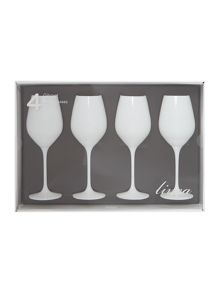 Ghost white wine glass s/4