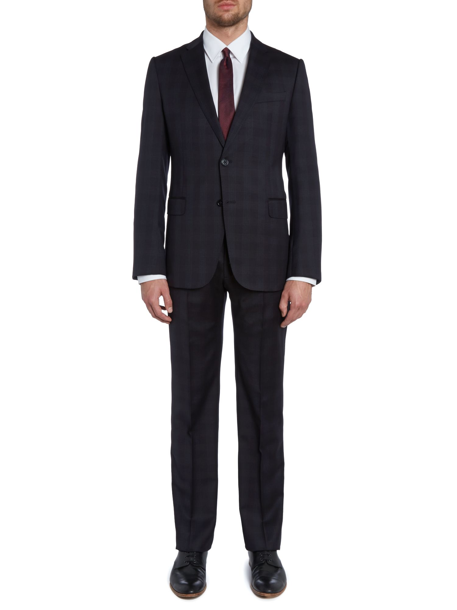 Metropolitan slim fit shadow check suit