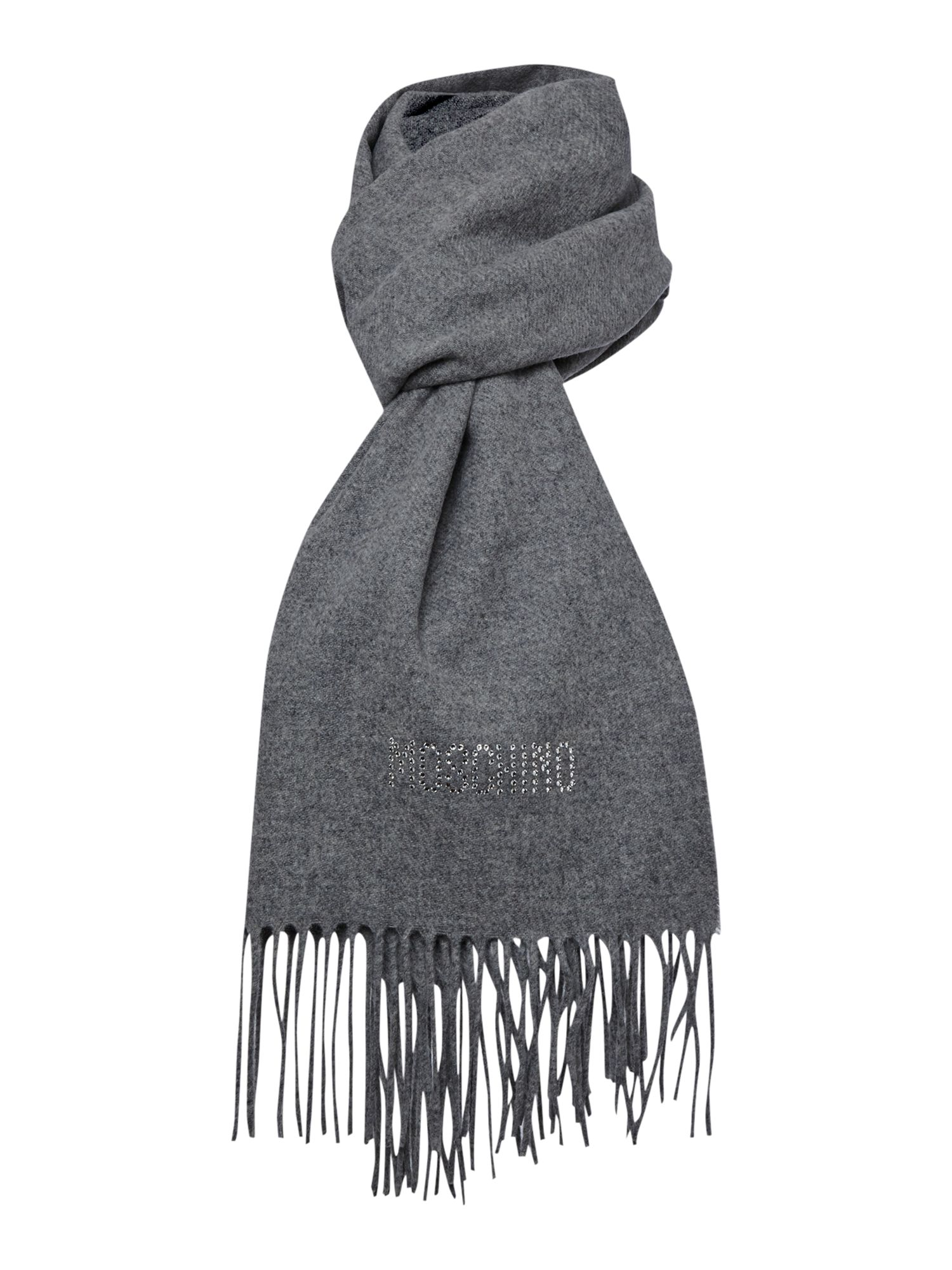 Diamante logo wool scarf