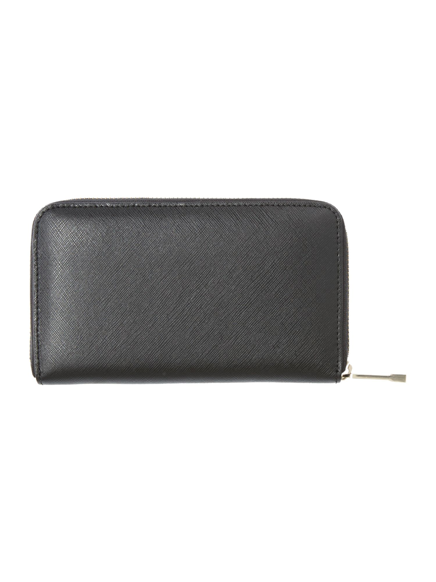 Saffiano black large zip aroun