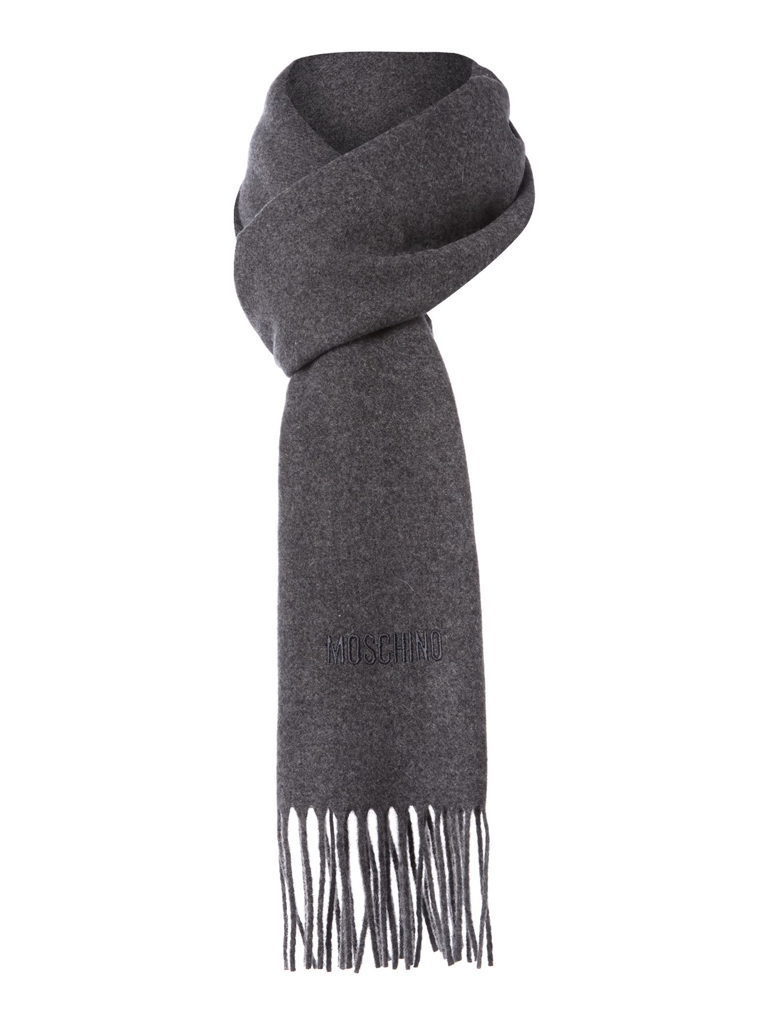 Plain logo wool scarf