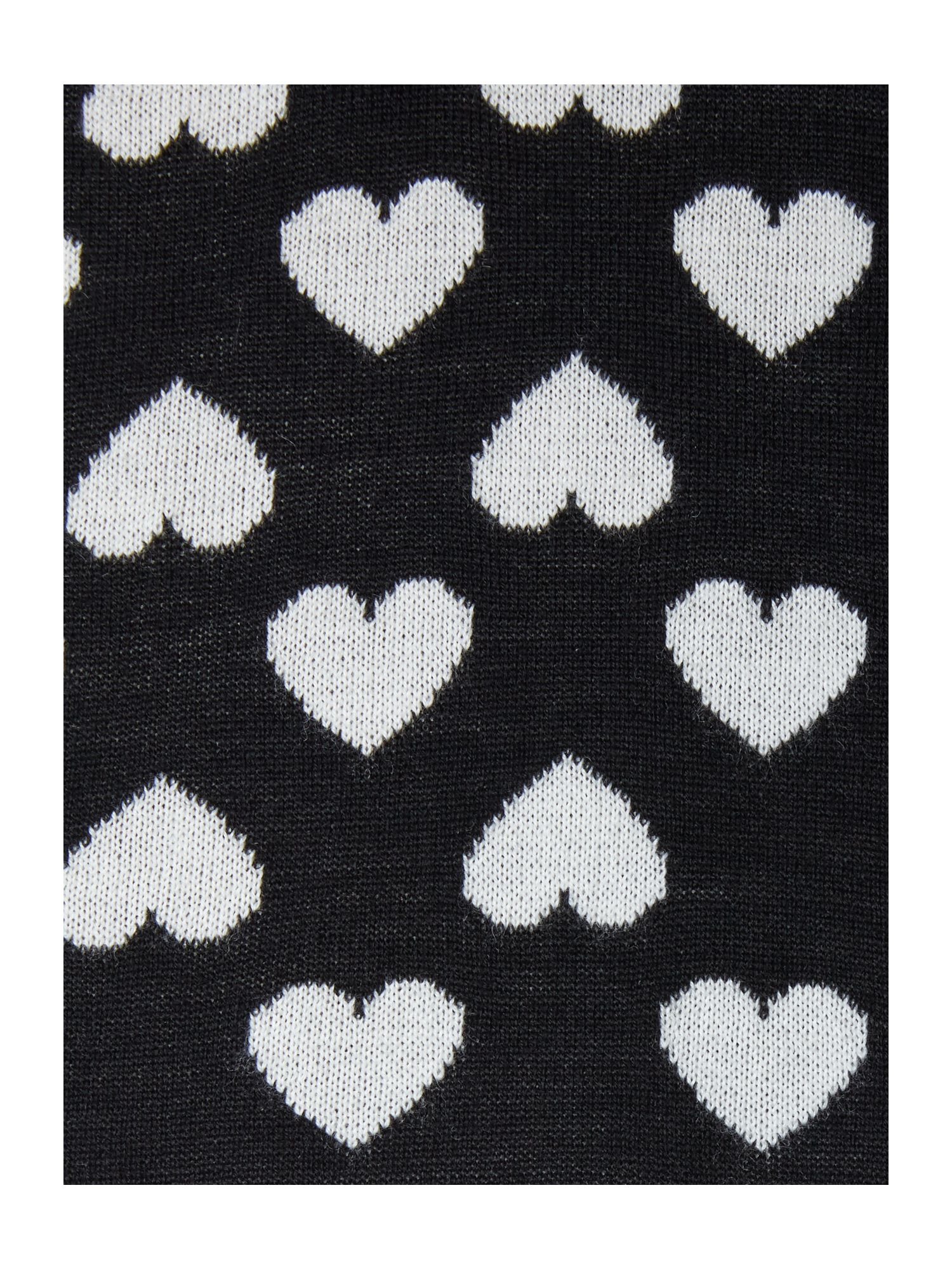 Heart intarsia knit wool scarf