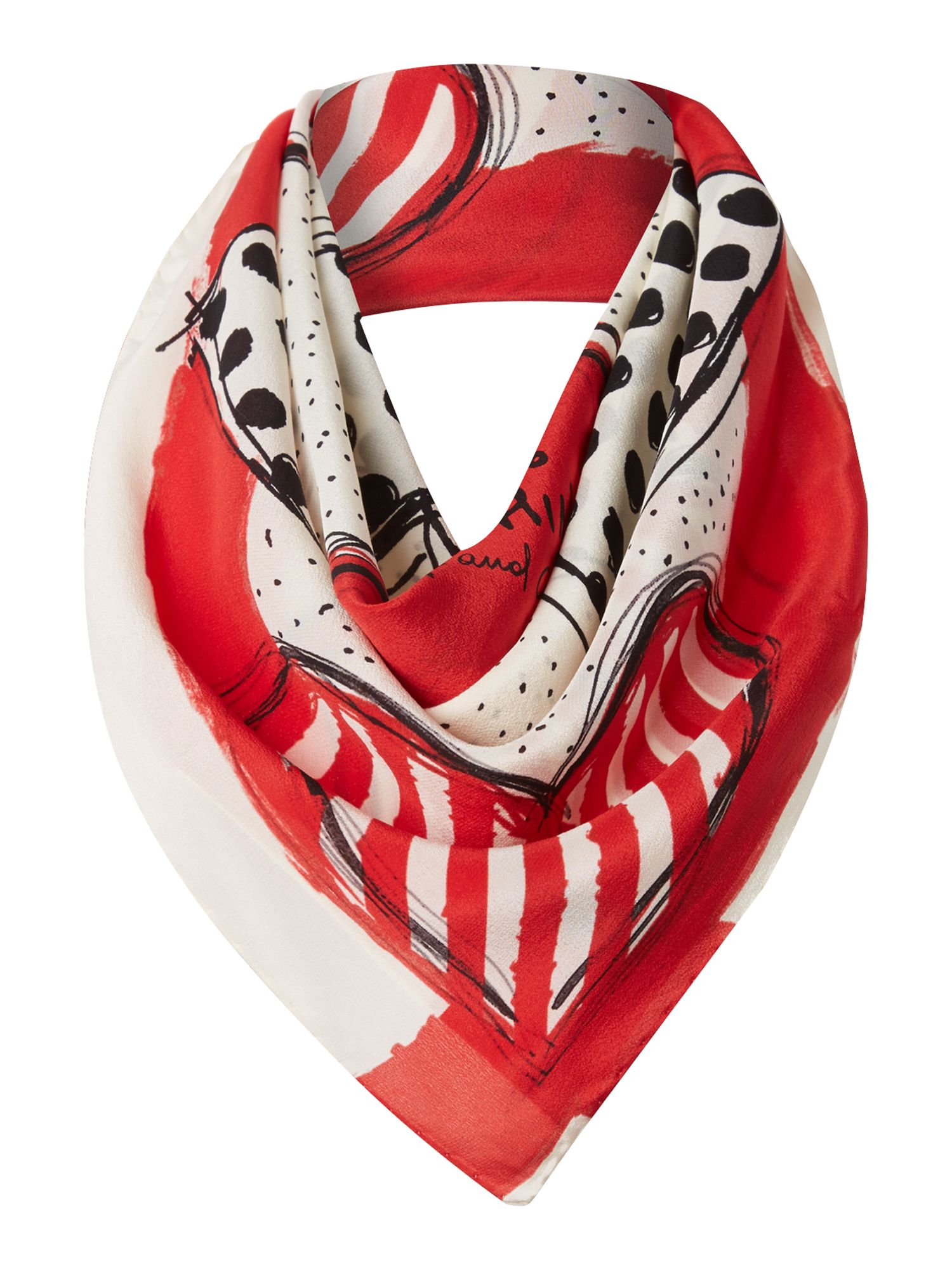 Polka dot and stripe hearts silk square scarf