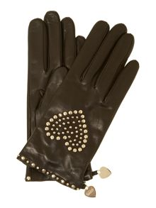 Studded heart leather gloves
