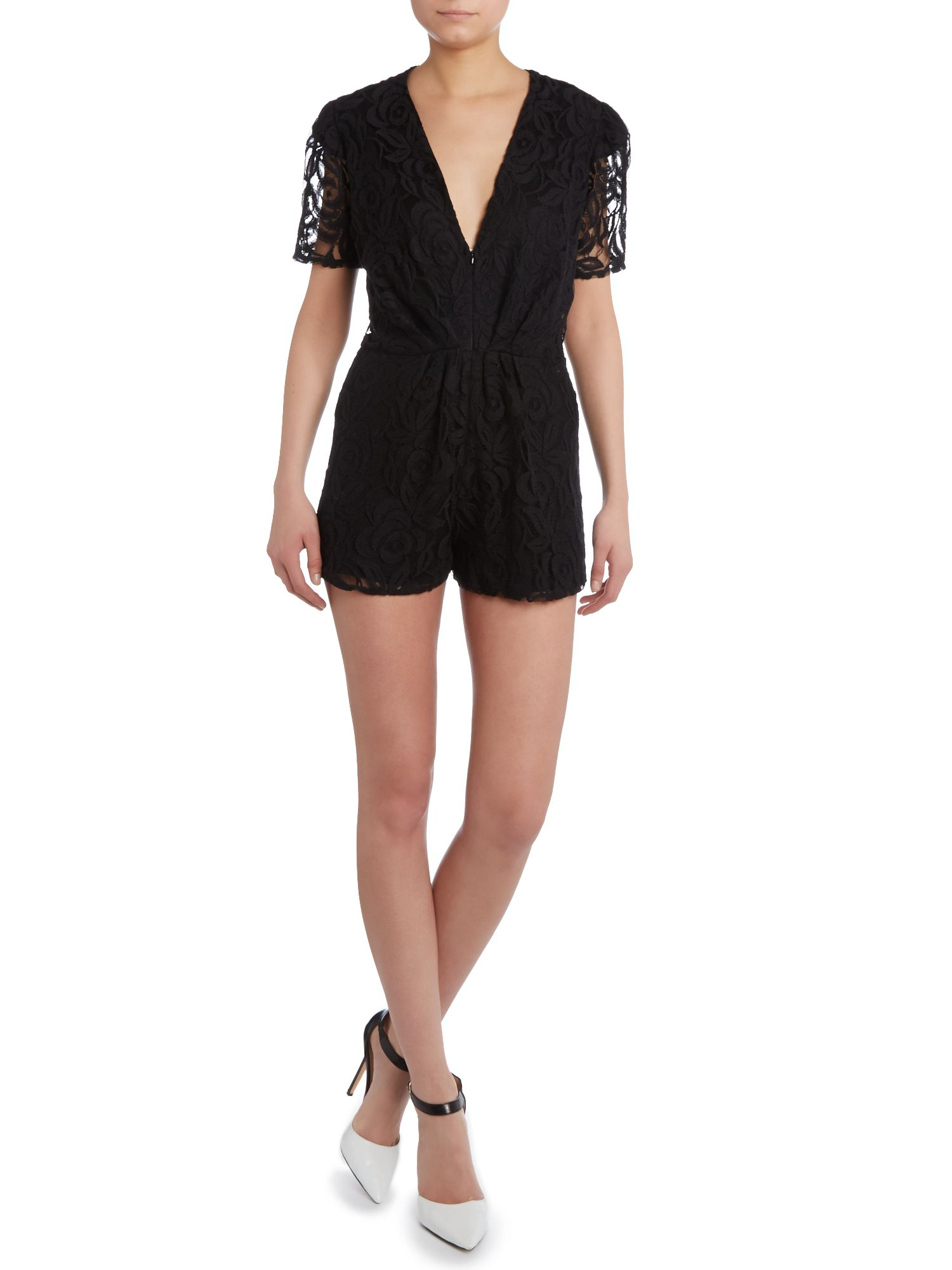 Cap sleeved lace playsuit