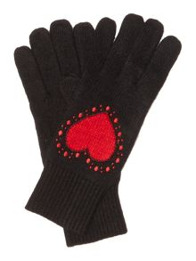 Heart with dots knitted glove