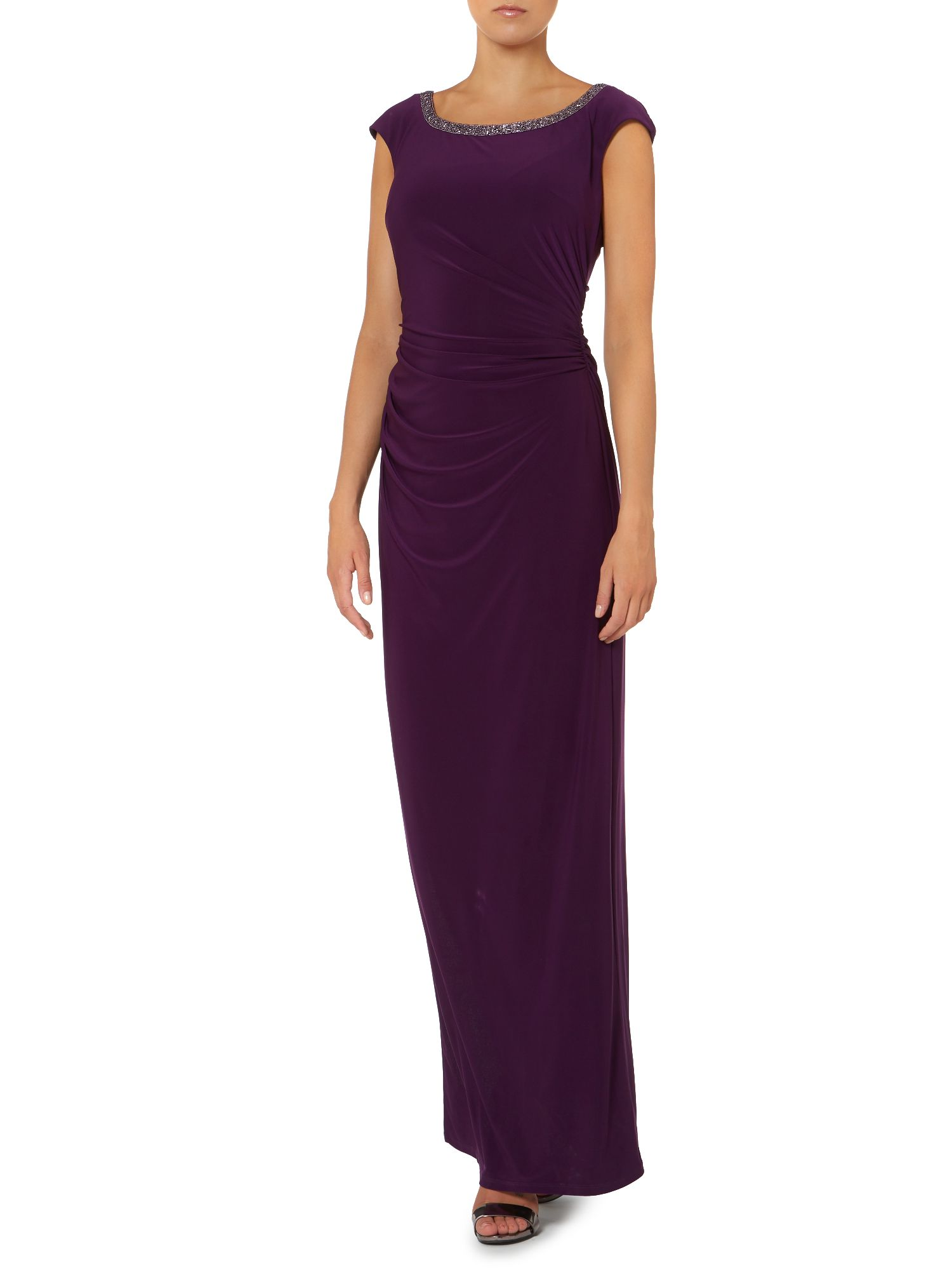 Maxi dress with beaded neckline