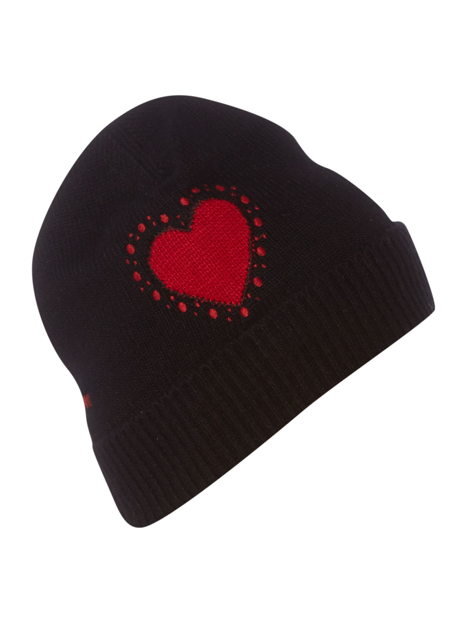 Heart with dots knitted hat