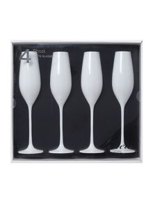 Ghost white flute glass s/4