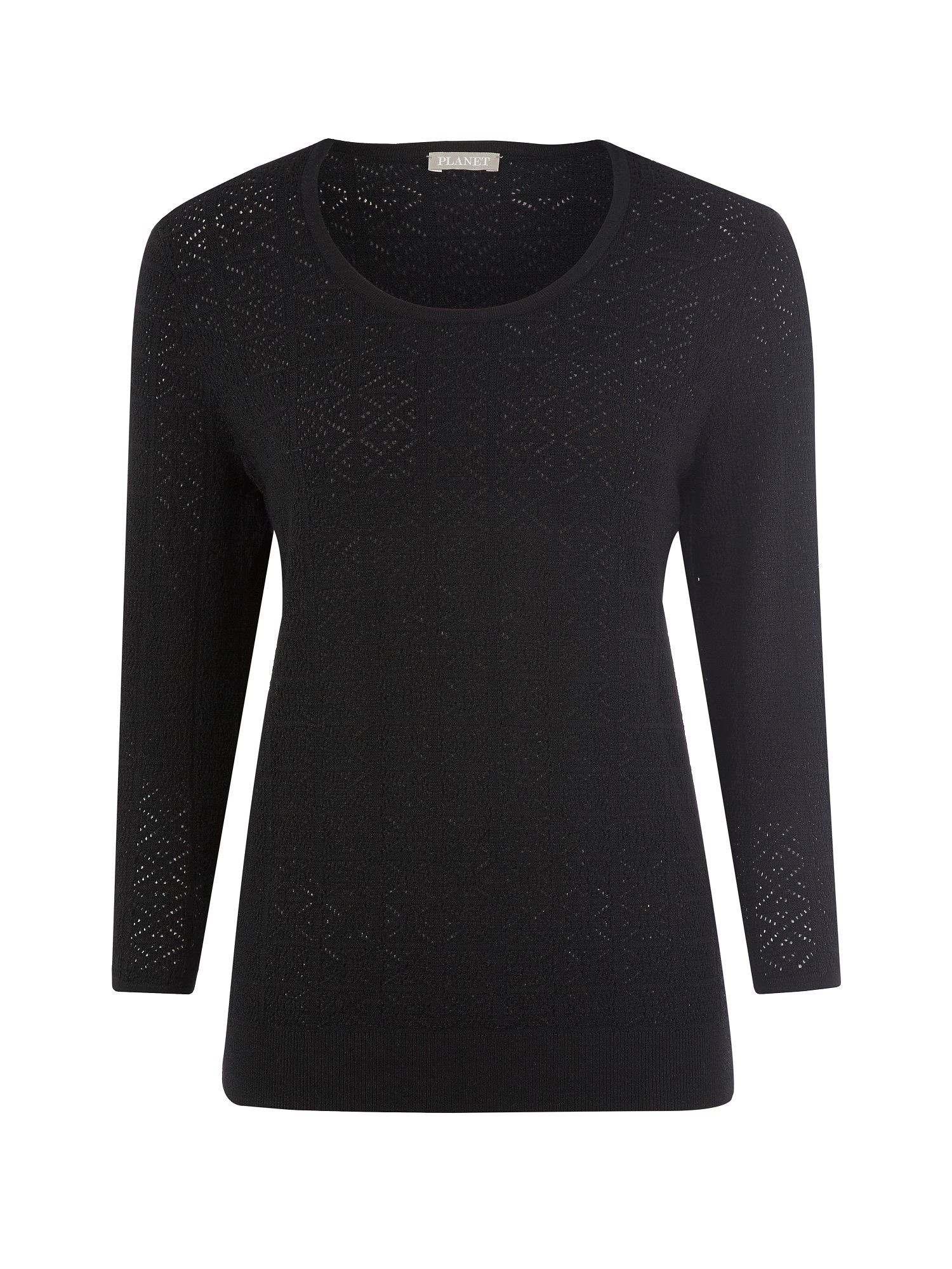 Black pointelle sweater