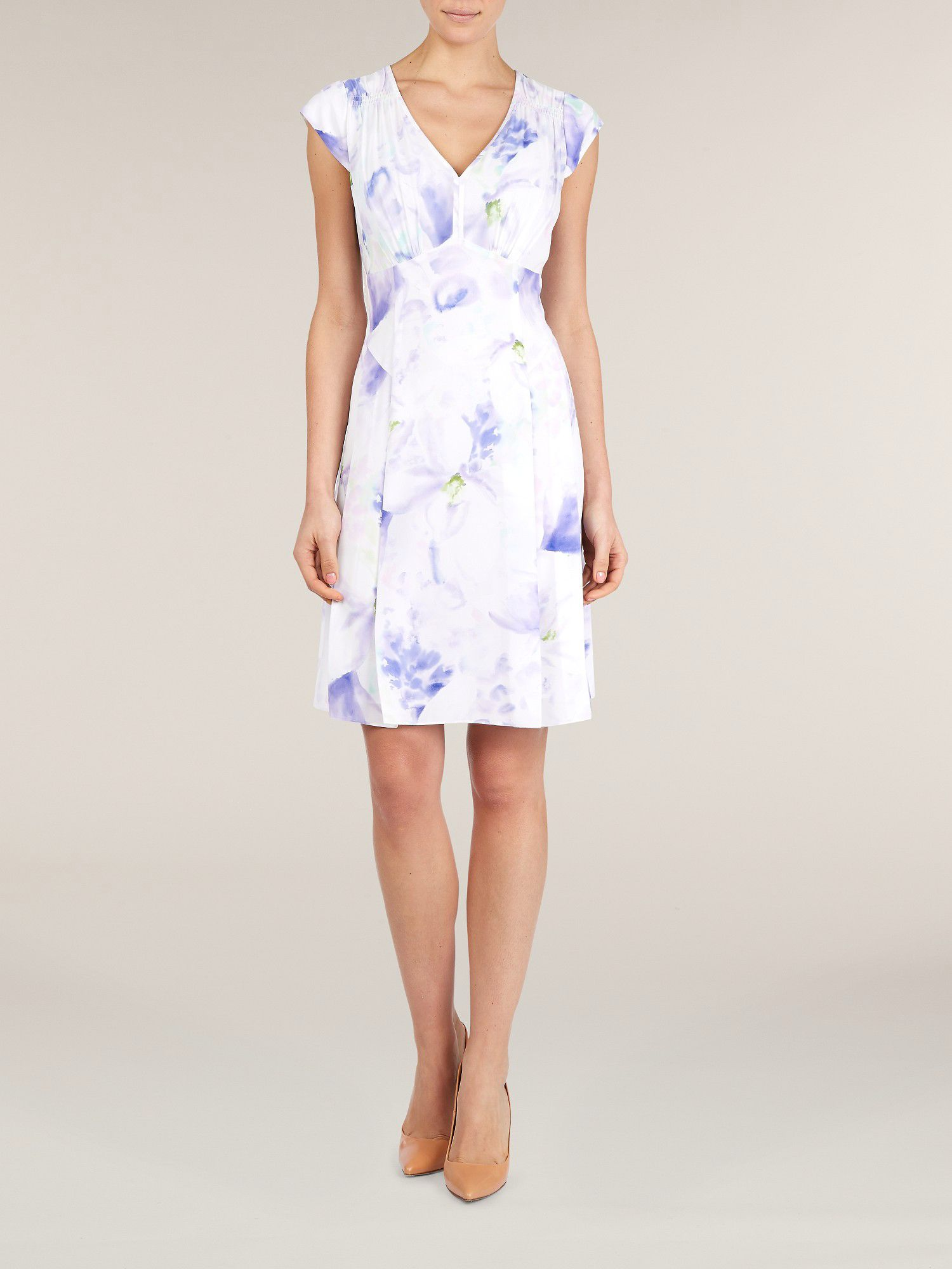 Lilac floral printed tea dress
