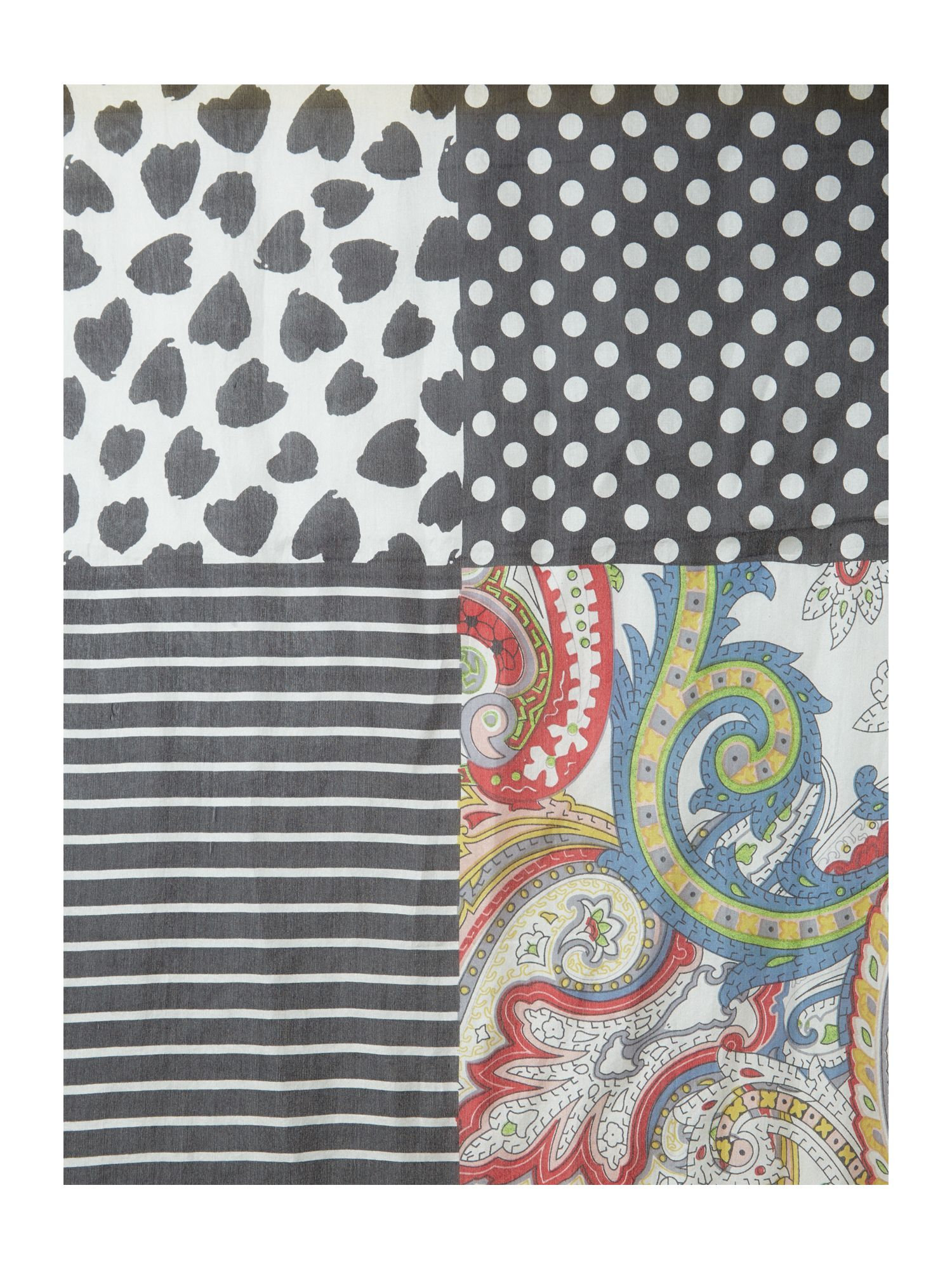 Paisley stripe patch silk long scarf