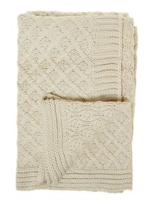 Diamond knit throw, cream