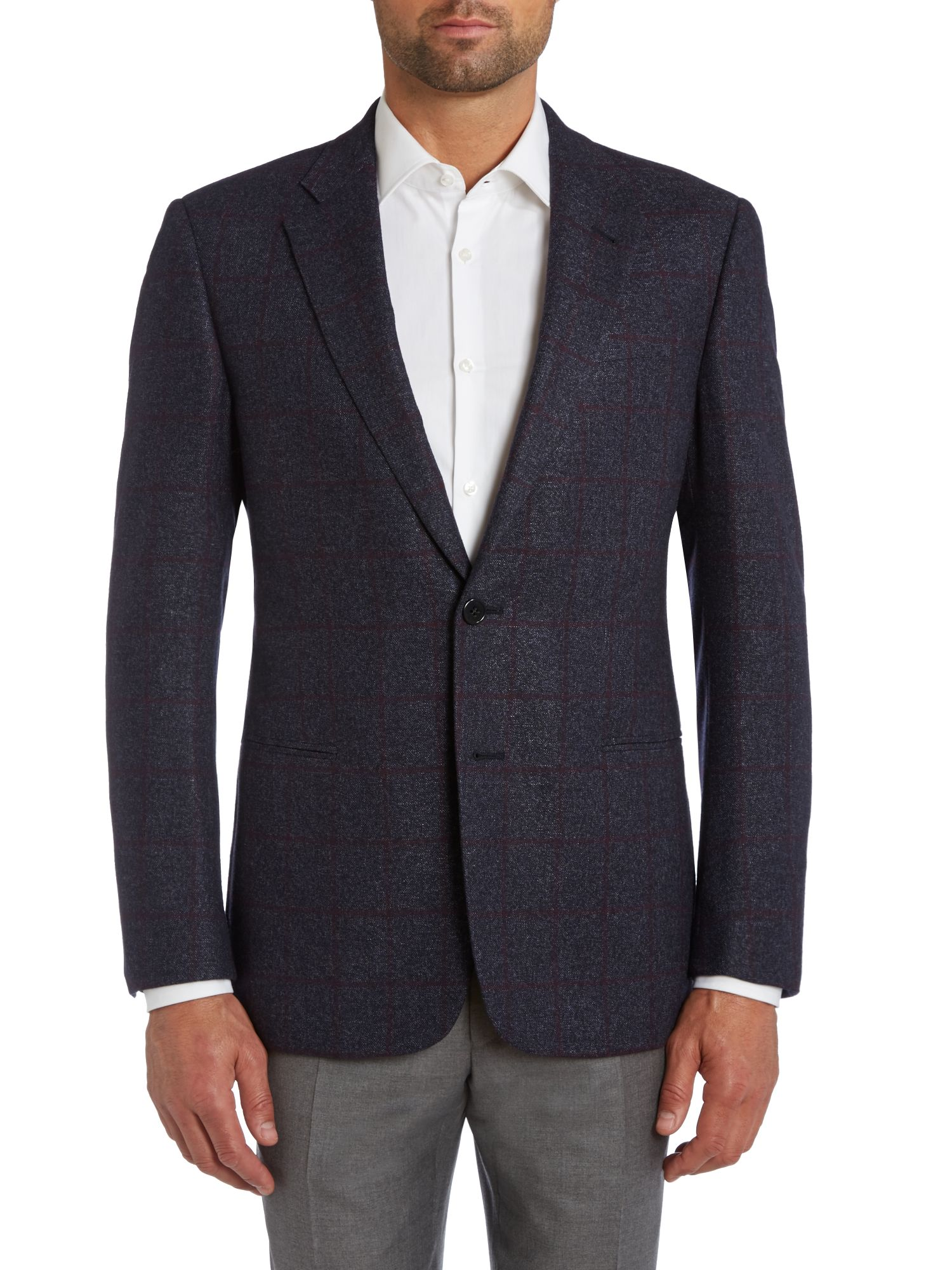 Wool check regular fit jacket