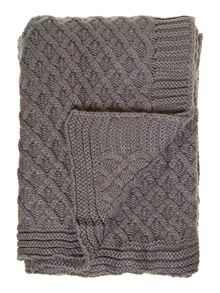 Diamond knit throw, grey