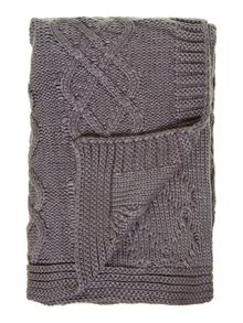Chunky knit throw, grey